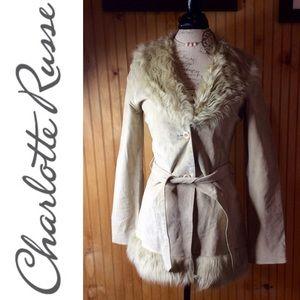 Charlotte Russe Leather faux fur trim jack…
